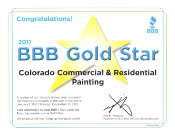 Better Business Bureau Gold Star Award Winner